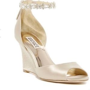 Badgley Mischka wedges with jeweled strap